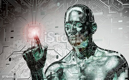istock humanoid robot clicking network computer 577641420