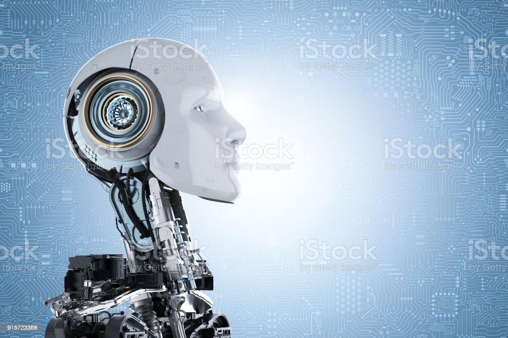 humanoid robot face stock photo
