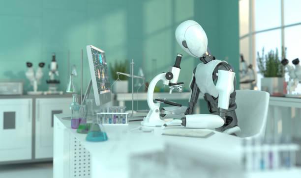un robot humanoide en un laboratorio trabaja con un microscopio. experimentos científicos. concepto futuro con robótica inteligente e inteligencia artificial. renderizado 3d. - robótica fotografías e imágenes de stock