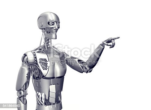 istock humanoid robot isolated on white 541864540