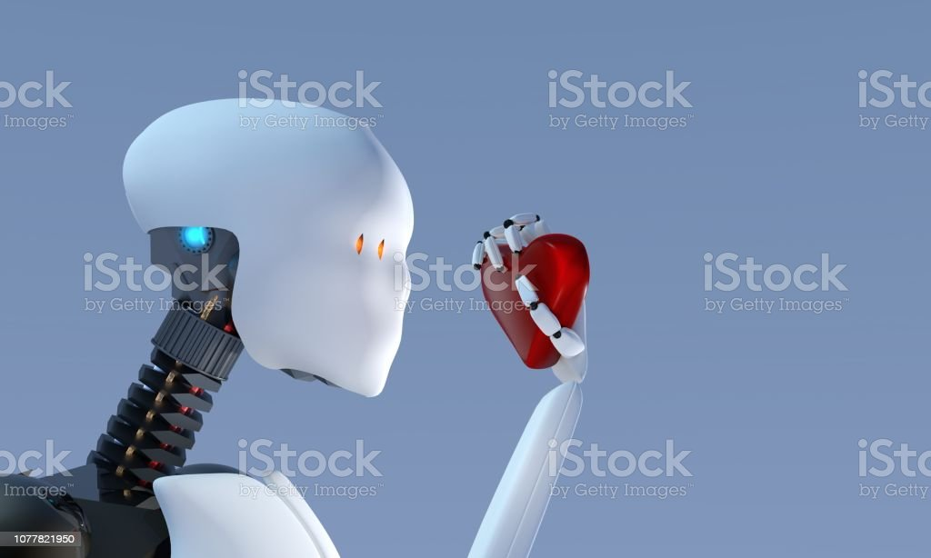 Humanoid robot learning about love stock photo