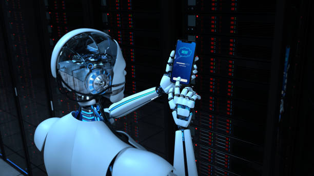 Humanoid Robot Smartphone Data Center Backup Humanoid robot makes a backup in the data center digitized stock pictures, royalty-free photos & images
