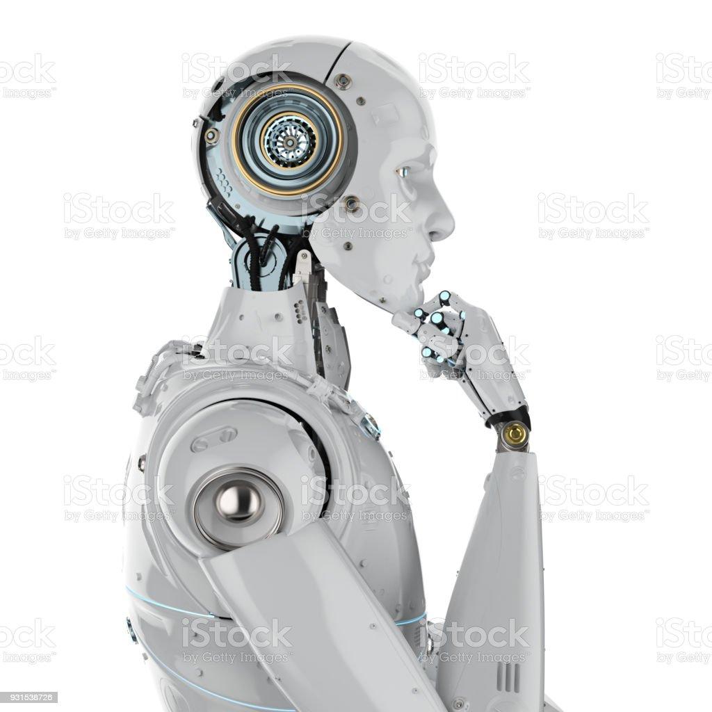 pensamiento de robot humanoide - foto de stock