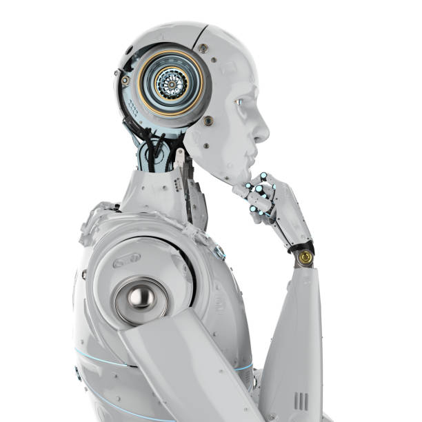 humanoid robot thinking stock photo
