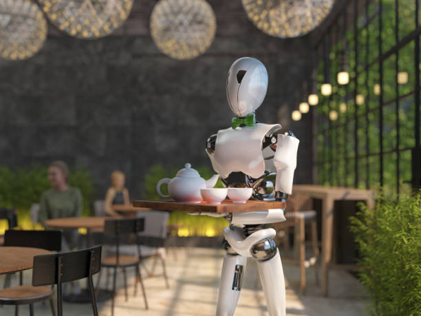 Humanoid robot waiter carries a tray of food and drinks in a picture id1195237857?b=1&k=6&m=1195237857&s=612x612&w=0&h=z76an2nghgzmr8kwfkras xvqikwmvn hbe6rgmtolm=