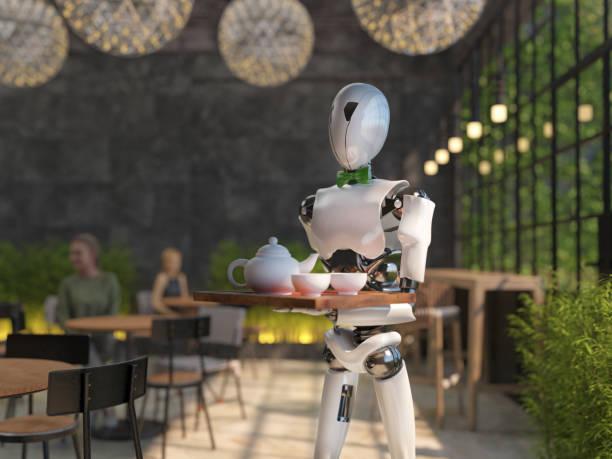 一個類人機器人侍者在餐廳裡提著一盤食物和飲料。人工智慧取代了維護人員。未來的概念。3d 渲染 - future 個照片及圖片檔