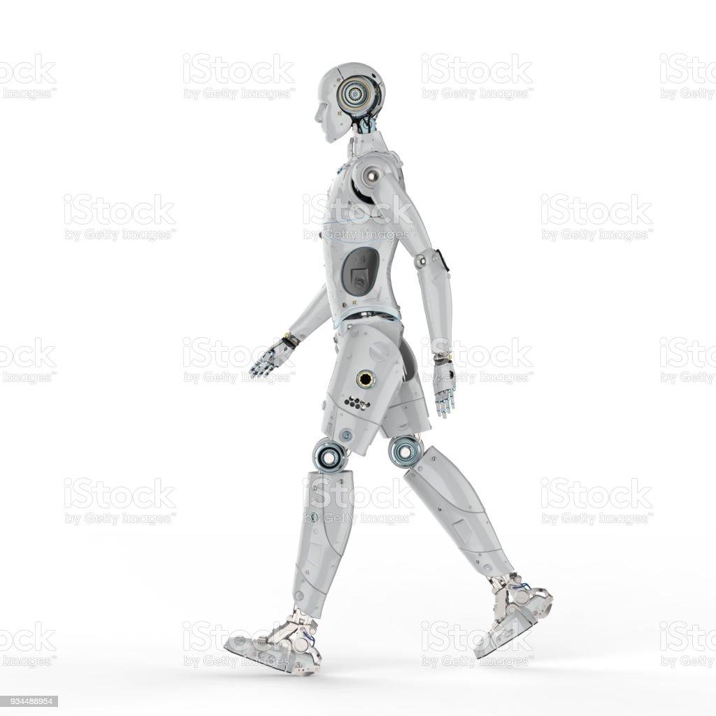 humanoid robot walk stock photo