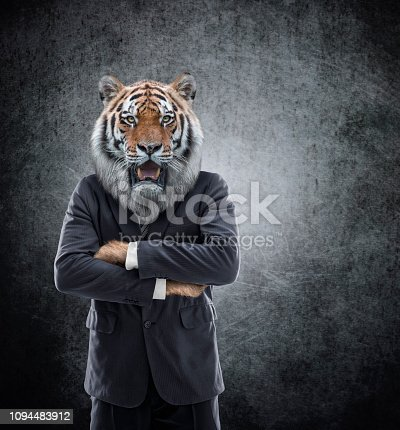 Humanoid Tiger - Tiger head on man in a suit - Image manipulation