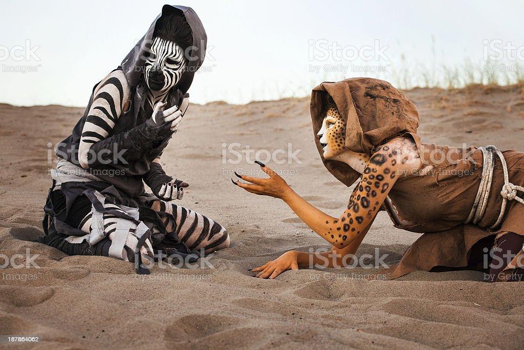 Humanoid Women in the Desert royalty-free stock photo
