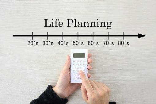 Human's hands calculating money for life planning