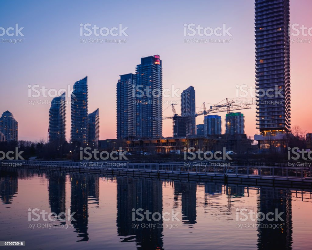 Humber Bay Skyline by Sunset stock photo