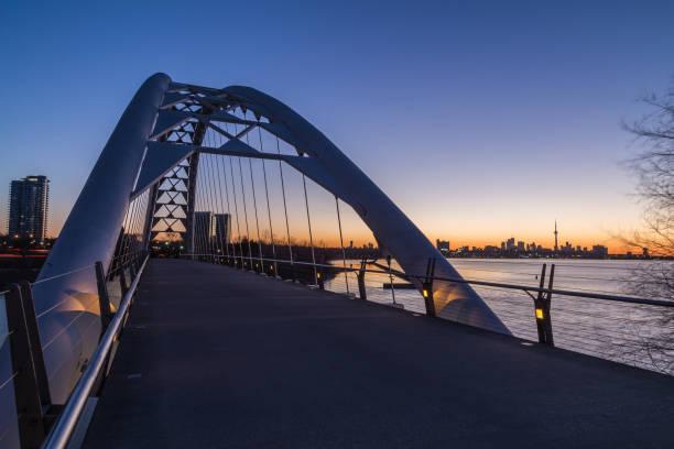Humber Bridge and Toronto Skyline stock photo