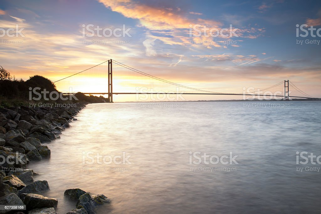 Humber Bridge at sunrise (Hull, UK) stock photo