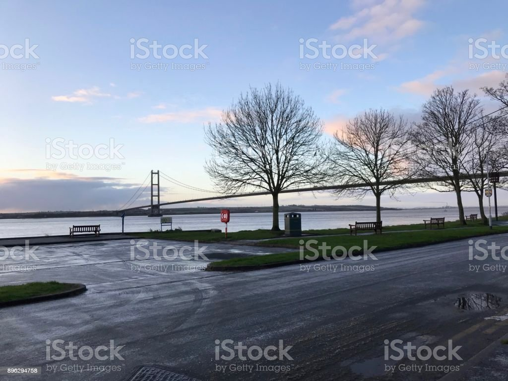Humber estuary and the bridge stock photo
