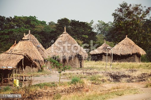 Humble dwelling of thatched house Guinea