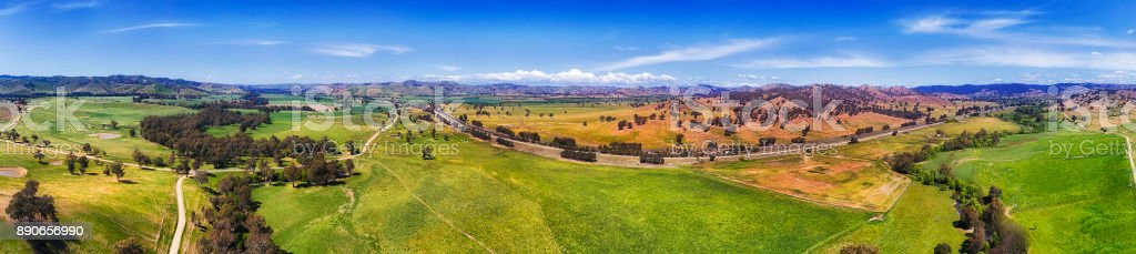D Hume Plains Side Panorama stock photo