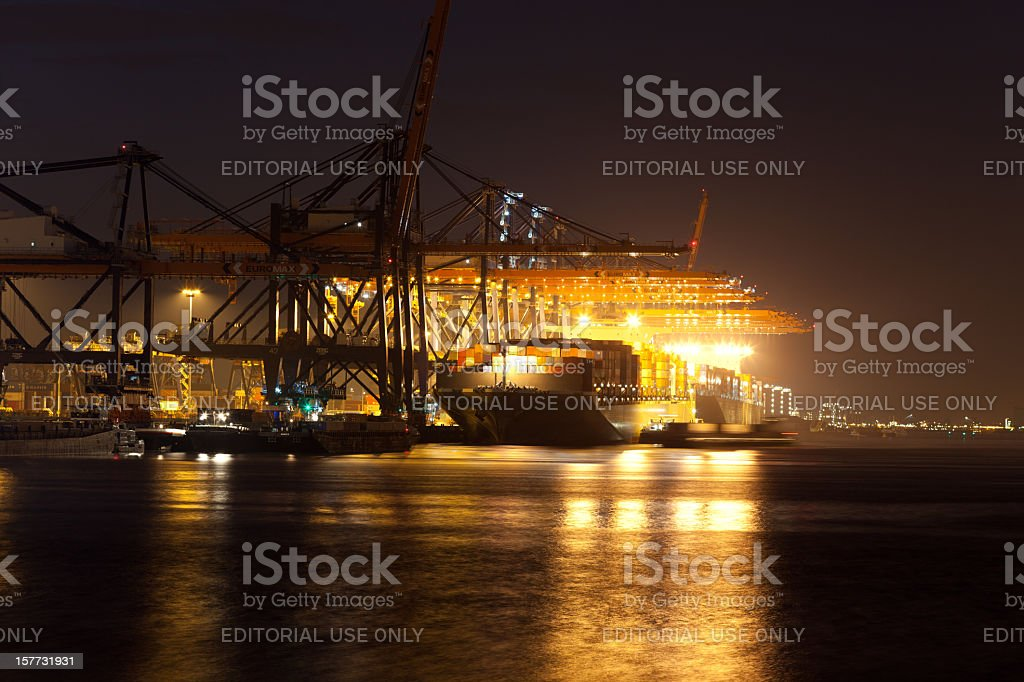 Humen Bridge at the Euromax terminal stock photo