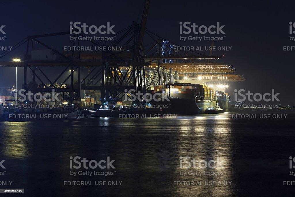 Humen Bridge at the Euromax terminal royalty-free stock photo