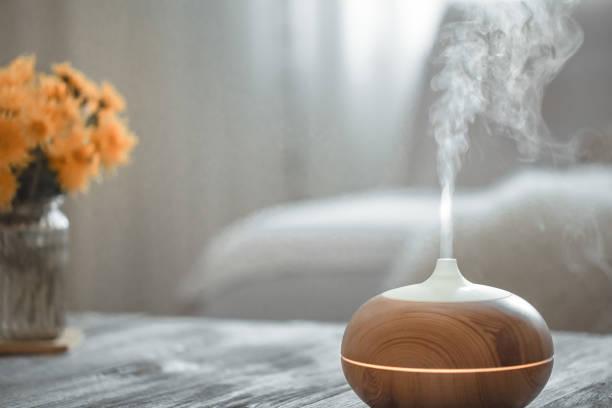 リビングルームのテーブルの上の加湿器。 - 加湿器 ストックフォトと画像
