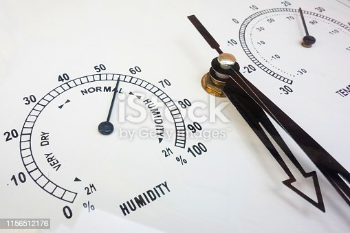 Humidity and temperature measurements. Needle instruments closeup. Weather conditions and meteorological parameters. Face of analog devises
