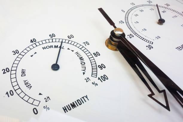 vochtigheids-en temperatuurmetingen. naald instrumenten close-up. weersomstandigheden en meteorologische parameters. gezicht van analoge bedenkt - luchtvochtigheid stockfoto's en -beelden