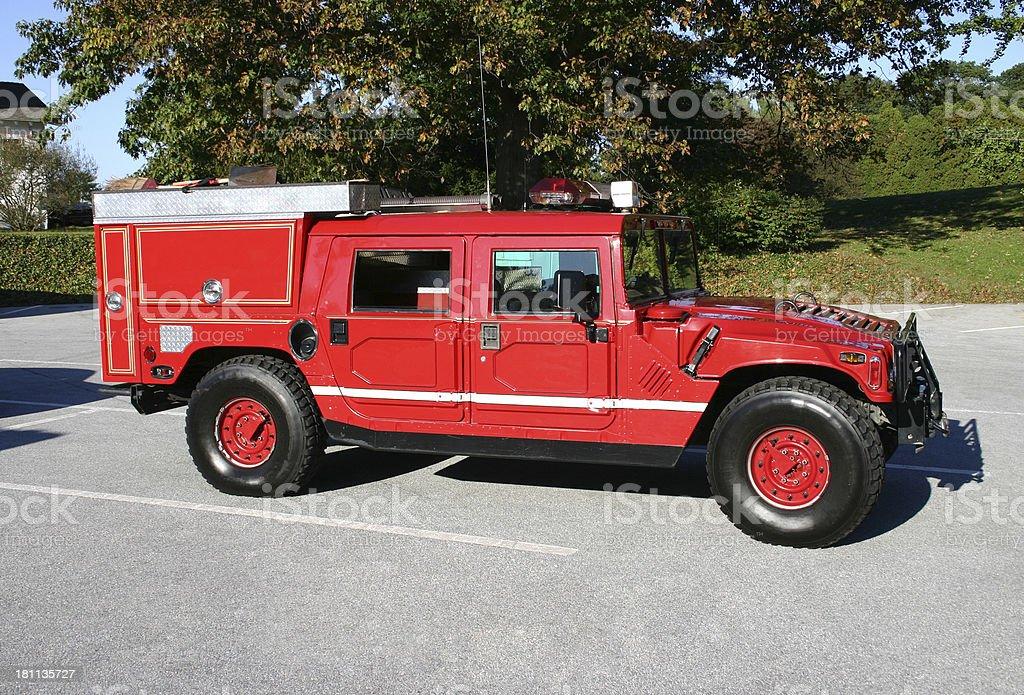 A red Hummer fire truck.