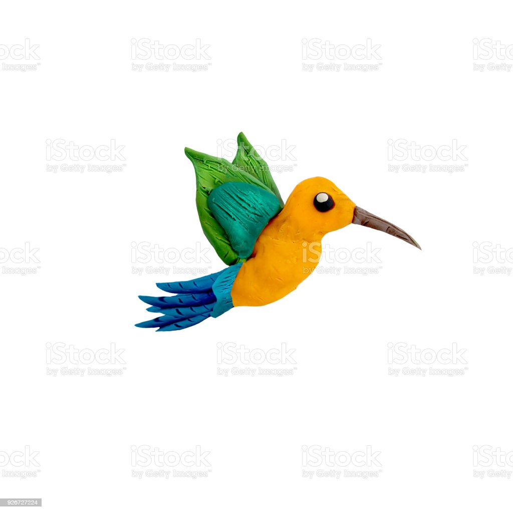 Hummingbird Plasticine Sculpture 3d Rendering Bird Isolated On White