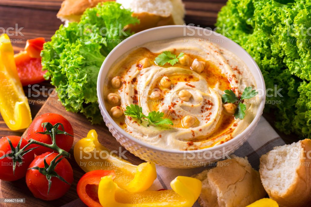 Hummus and chickpea. Jewish Cuisine. Top view stock photo