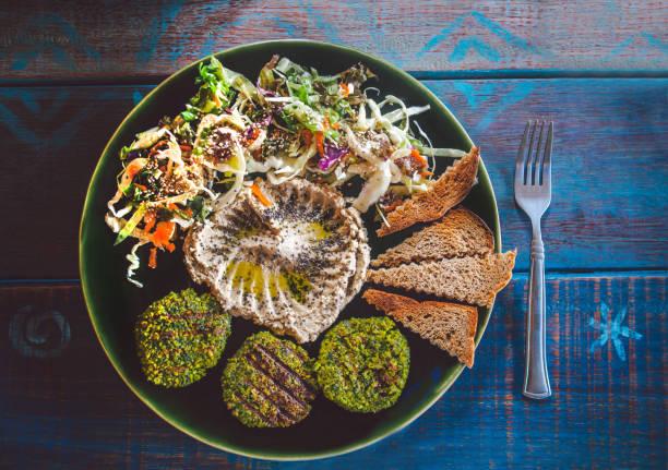 Hummus and falafel stock photo