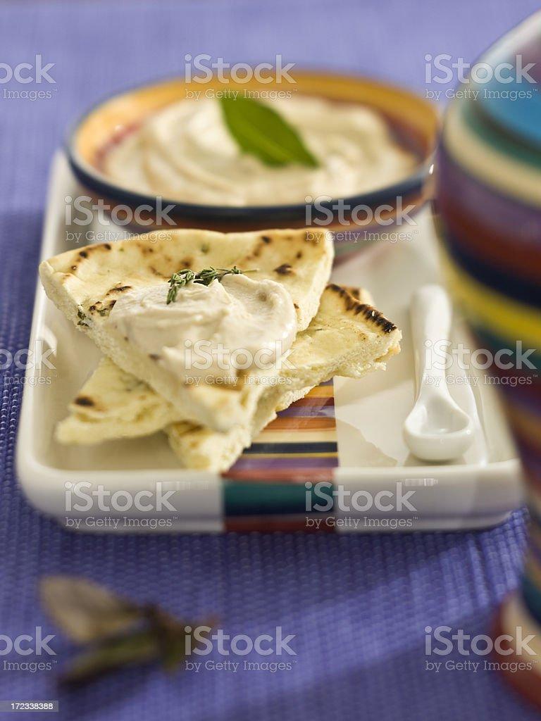 hummus and flat bread stock photo