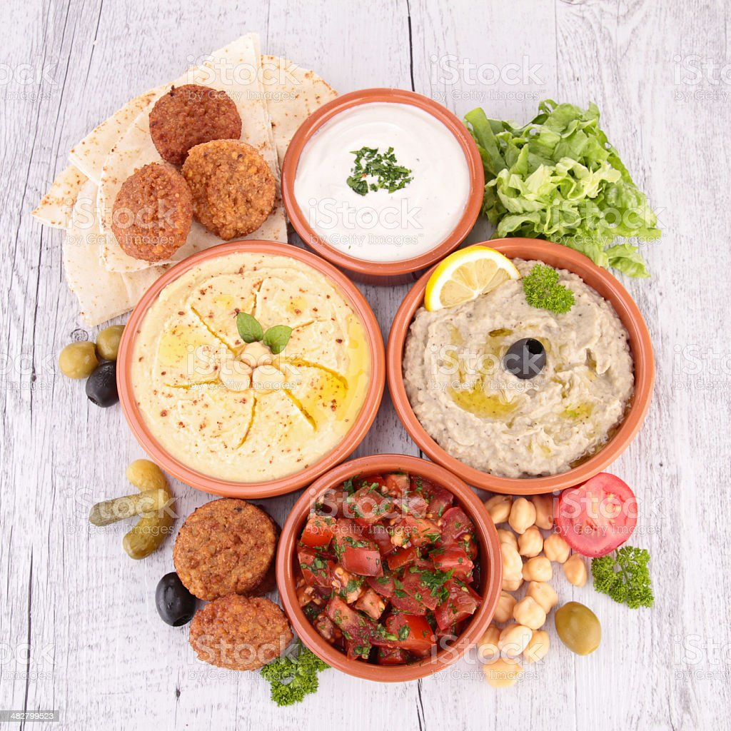 hummus, falafel and others mezze stock photo