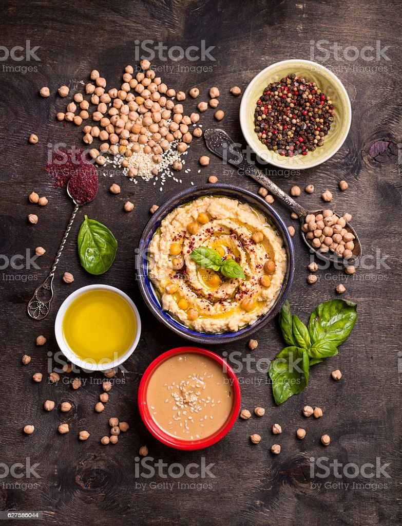 Hummus ingredients stock photo