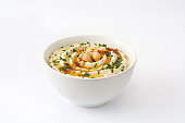 Hummus on white background