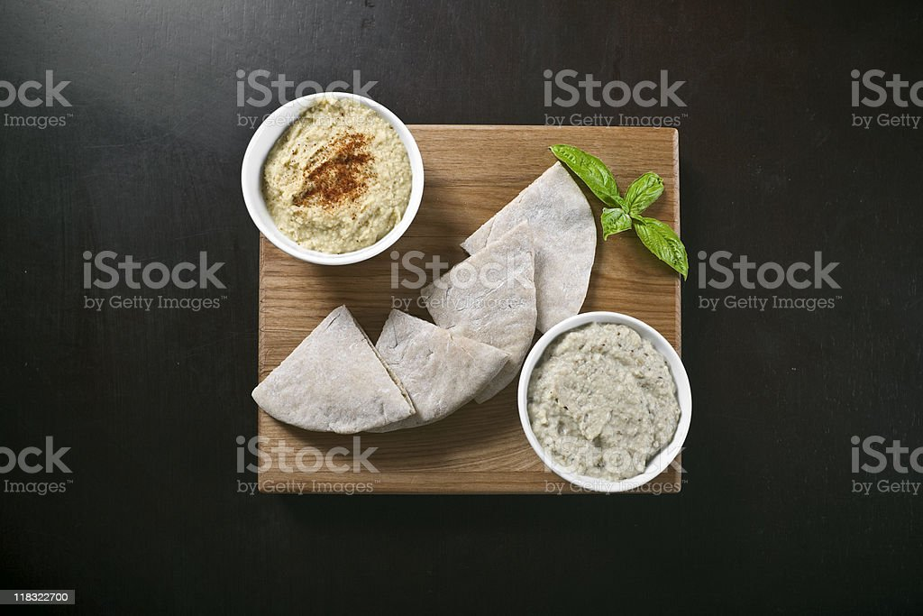 Hummus, Pita, and Baba Ganoush stock photo