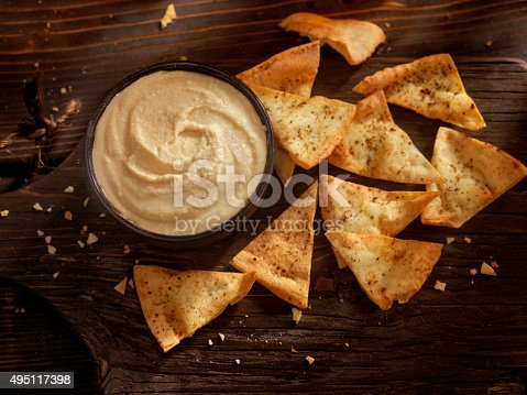 Hummus with Pita Chips -Photographed on Hasselblad H3D2-39mb Camera