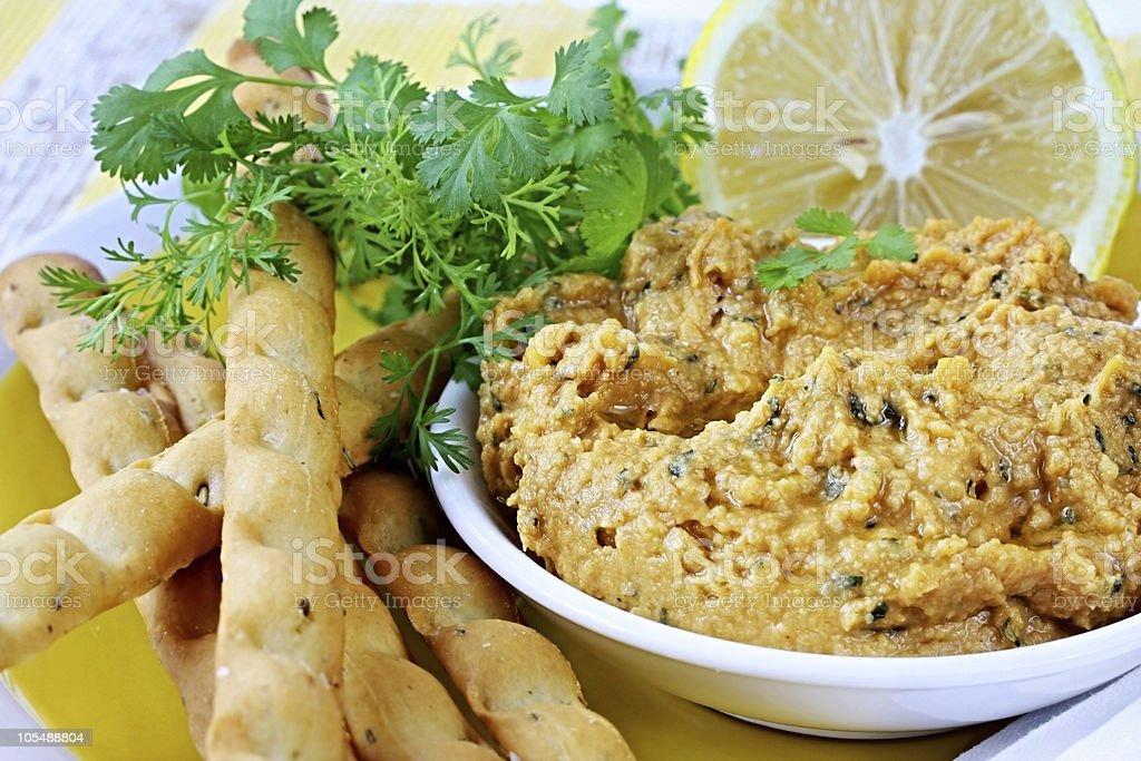 Hummus with Lemon and Cilantro royalty-free stock photo
