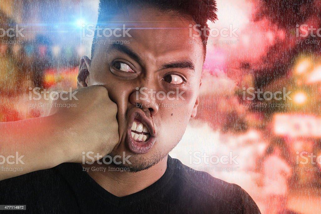 humorous aggression stock photo