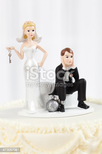 istock Humorous Ball and Chain Wedding Cake Topper Close-up 472057061