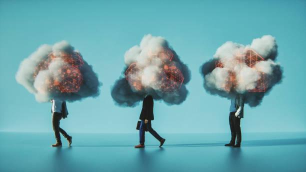 kavramsal görüntü mizahi mobil bulut - bulut bilişimi stok fotoğraflar ve resimler