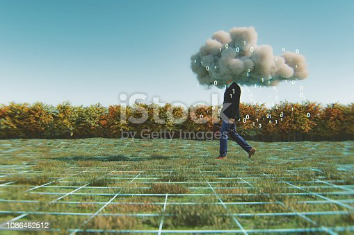 Humorous mobile cloud computing conceptual image. This is entirely 3D generated image.