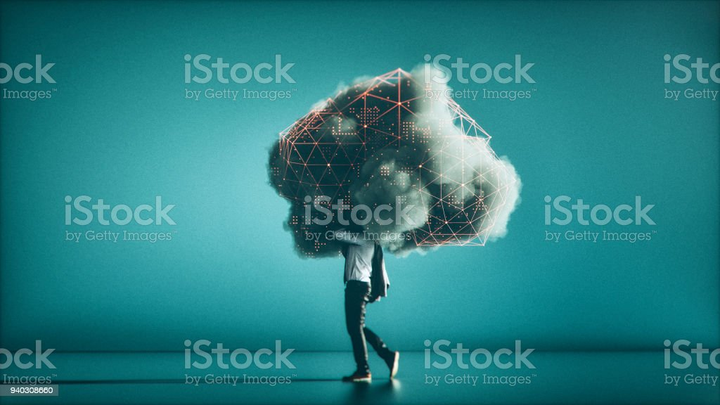 Humorvolle mobile Cloud computing-Konzeptbild - Lizenzfrei Abstrakt Stock-Foto