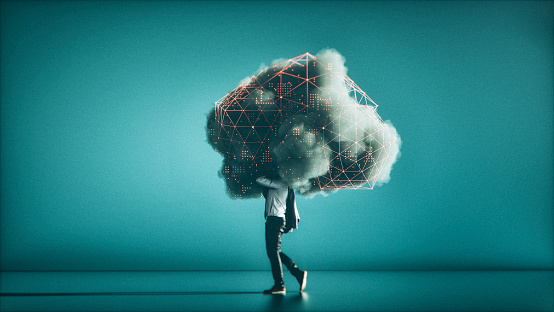 Humorvolle Mobile Cloud Computingkonzeptbild Stockfoto und mehr Bilder von Abstrakt