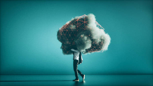 Humorous mobile cloud computing conceptual image stock photo