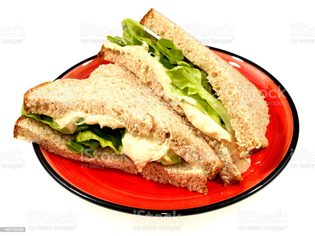 Humous and Lettuce Sandwich in Brown Bread stock photo