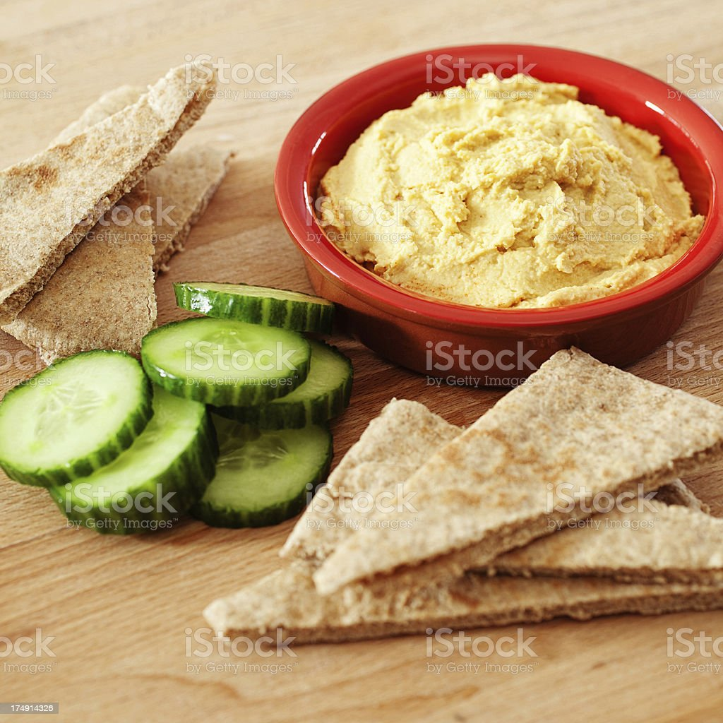 Humous Dip with Pitta Bread royalty-free stock photo