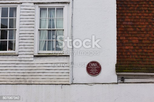 Tunbridge Wells, UK - January 26, 2016: Plaque outside house where Humphrey Borrows Snr and, later, Humphrey Borrows Jnr lived and manufactured Tunbridge ware.