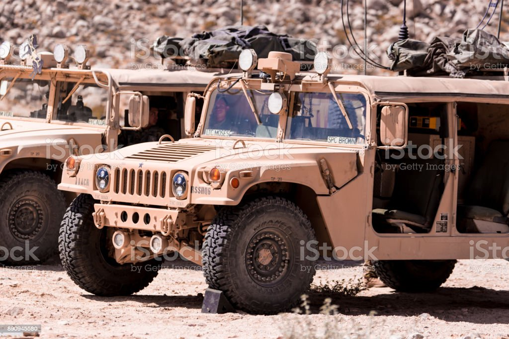 Humvee vehicles on deployment during war stock photo