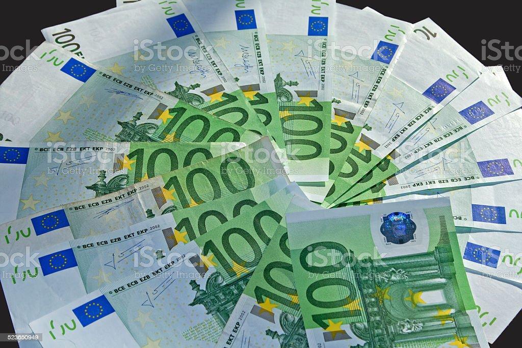 Hundert Euro Banknoten im Fächer stock photo
