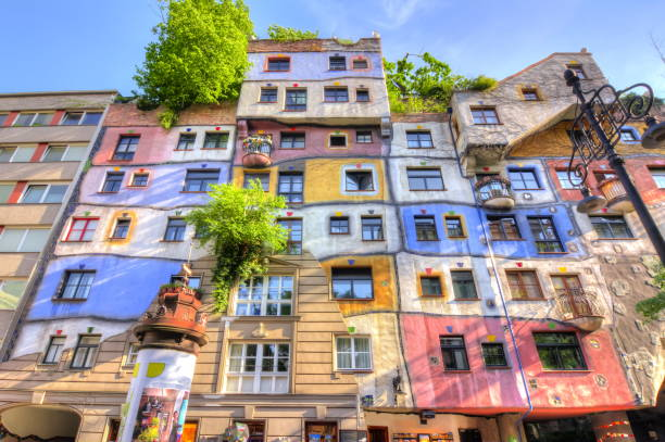 hundertwasser house in vienna, austria - vienna stock photos and pictures