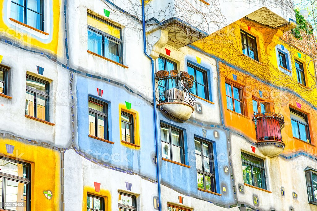 Hunderwasser building in Vienna stock photo
